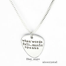 "1P ""when words fail music speaks"" Pendant Necklace Chain Fashion Jewellery Gift"