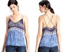 LUCKY BRAND Women's Blue Paisley Scarf Print Tank Top Cami Blouse Sz M ~ NWT $89
