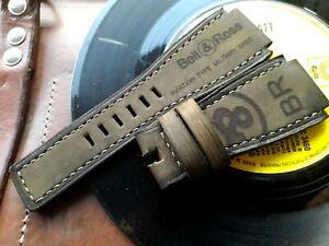 24mm handmade, suede leather watch strap, army, Bell & Ross logo, Dark green