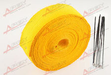 "Fiberglass Exhaust Thermo Wrap Tape High Heat 2""x 50FT Cloth Roll Yellow G"