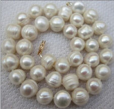 "HUGE 18""12-13MM NATURAL SOUTH SEA GENUINE WHITE PEARL NECKLACE 14K"