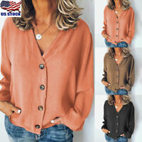 Womens Casual Long Sleeve T-Shirt Cardigan Loose V Neck Button Down Tops Blouse