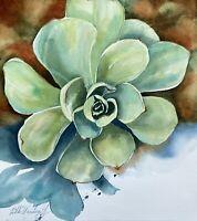 Succulent Original Watercolor Painting