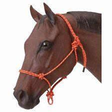 Tough-1 Poly Nylon Rope Tied Halter Horse Orange NEW Adjustable Snug Fit