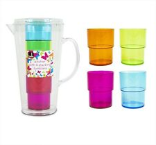 2 x Bello Jug Set with 4 Coloured Water Juice Glasses BBQ Picnic Pitcher Tumbler