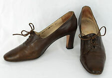 Vintage Salvatore Ferragamo Brown Leather Lace Up Oxford Pumps Snake Skin 7.5 AA