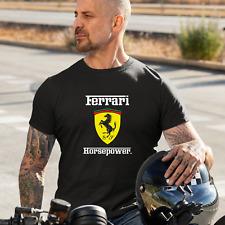 Ferrari Horsepower Logo T Shirt Black Sizes M - XL Super Cars Motoring Motors