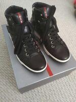 prada nappa sport high top shoes mens black 10.5 US 9.5 UK 43.5 EUR