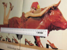 CLARKS' SHOES TV TIMES CENTRE-PAGES ADVERT 1976 48.5 X 30 CM WOMAN ON BULL BENCH