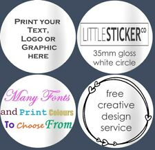 Gloss White Invitation seals Personalised Labels Circle Sticker customised 100
