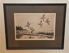 Original Churchill Ettinger Signed Sporting Art Duck Etching - Pitching Mallards