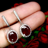 NATURAL 9 X 12 mm. OVAL PEGION BLOOD RED RUBY & WHITE CZ EARRINGS 925 SILVER