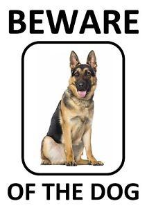 BEWARE OF THE DOG - ALSATIAN GERMAN SHEPHERD *LAMINATED WARNING SIGN FUN*
