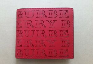 BURBERRY Perforated Logo Leather International Bifold Red Wallet