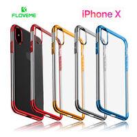 Funda iPhone X silicona transparente con bordes color metalizado FLOVEME