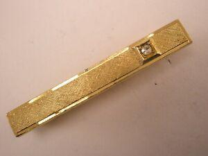 -White Rhinestone & Gold Tone Vintage METAL Tie Bar Clip plain simple quality