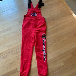 Champion Superfleece 3.0 Overalls Red Spell Out Big Logo Men's S New Unisex