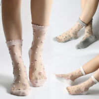 Ultra Thin Ladies Women Floral Transparent Cotton Crystal Lace Elastic Socks uk