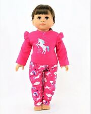"""Doll Clothes AG 18"""" Pajamas Unicorn Pink Fit American Girl Doll"""