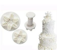 Set of 3 Snowflake Plunger Cutters, FROZEN, Sugarcraft, Christmas, Fondant.