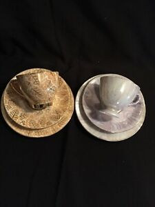 Lustreware 2 Trio Cups Sets Made In Japan 2 Cups, Saucers & Bread & Butter Plate