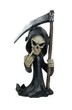 Grouchy Grim Reaper Flipping Bird Hand Painted Statuette Figurine