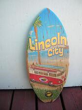 lincoln city surfshop wooden mini surfboard skimboard sign vw van bus surfer 60s