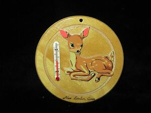 Vintage Souvenir of New London, CT Thermometer with Cut-Out Fawn Deer- WT Grant