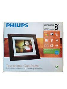 Philips 8 inch Digital Photo Frame Mahogany Wood Frame LCP Panel