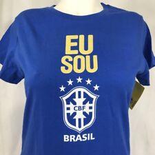 Eu Sou Brasil CBF Soccer T-Shirt Women Large Blue Futebol Club Futbol Brazil