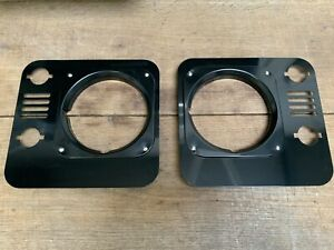 Gloss Black Front Head Light Surrounds Pair With Inserts - Land Rover Defender