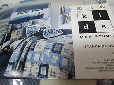 New Max Studio Kids Patchwork Plaid Standard Sham 21x27 - Blue, Cream, Grey Nip