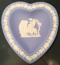 Wedgwood Blue Jasperware Heart Shaped Pin Dish, Pegasus & Classical Male Figure