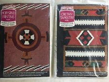 2 Aunt Lydia's Vintage Rug Printed Punch Needle- Hopi Sand Painting & Toltec Sun