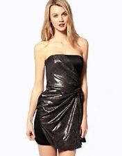 Exquisite Karen Millen Pewter Black Dress Evening Party Size 38 UK 10