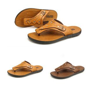 New Mens Slip On Flat Clip Toe Thong Summer Waterproof Beach Slippers Breathable