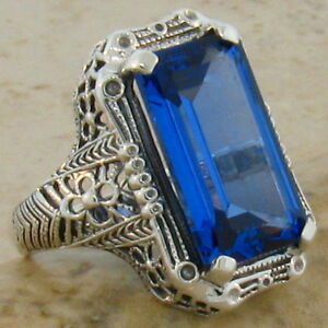 VINTAGE ANTIQUE STYLE 9 Ct LONDON BLUE SIM TOPAZ 925 STERLING SILVER RING    #32