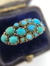 Victorian Antique Yellow Gold Turquoise Cluster Bombe Large Unusual Dress Ring
