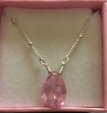 "Avon teardrop necklace ""In best wishes signature box"" pink -love"
