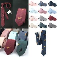 Men 6cm Cotton Narrow Ties Skinny Cravat Necktie Party Casual Printed Neckwear