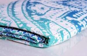 Ombre Mandala Kantha Quilt Blanket Handmade Kantha Throw Reversible Bed Cover