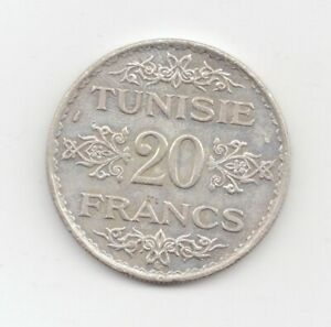 Tunisia Silver 1934 20 Francs-Lot B4
