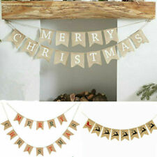 Merry Christmas Decoration Burlap Hessian Bunting Christmas Gifts Banner-Rustic