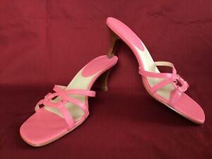 Ann Taylor Loft Kitten Heel Sandals Shoes Pink Strappy 7,5m Made in Brazil