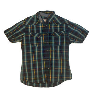 Wrangler Check Button Up Shirt Large Green Country Style