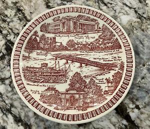 Vintage Commemorative Plate - Vernon Kilns - Memphis, Tennessee Red