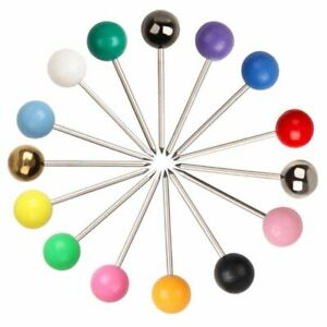 100pcs/Box Map Pins Assorted Colour 5mm Head for Indicator Cork Notice Boards AU