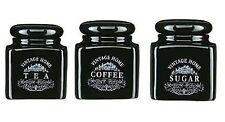 3 Piece Black Vintage Tea Coffee Sugar Jars Pots Canisters Set Brand New