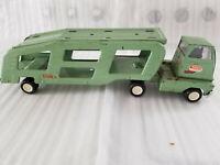 VINTAGE 1960'S TONKA OLIVE GREEN CAR CARRIER TRANSPORT TRUCK TRAILER SEMI CAB