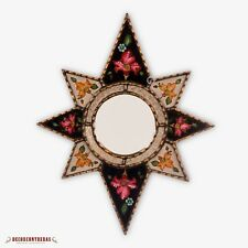 "Peruvian Star Accent Mirror 23""x18.7"", Handpainted glass wall Mirror decorative"